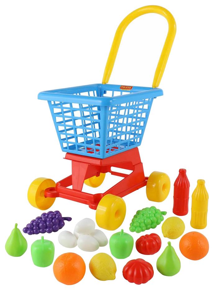 Купить Играем в профессии, Тележка Palau Supermarket №1 + набор продуктов в сеточке, Детские тележки для супермаркета