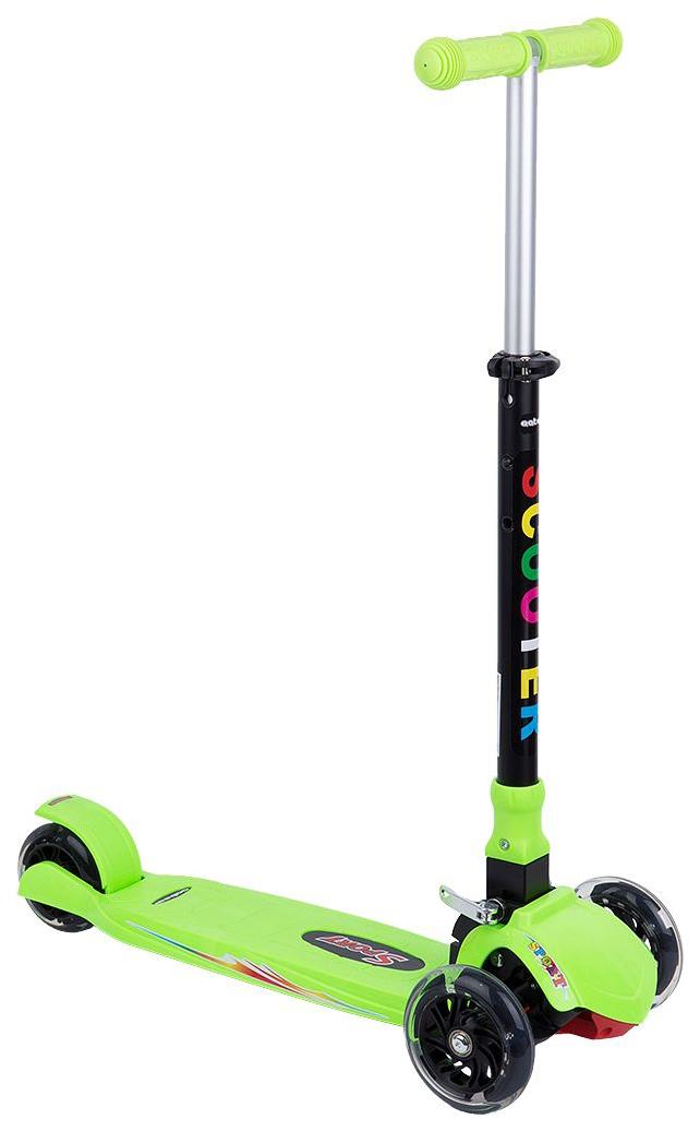 Самокат трехколесный Leader Kids зеленый со светящимися колесами