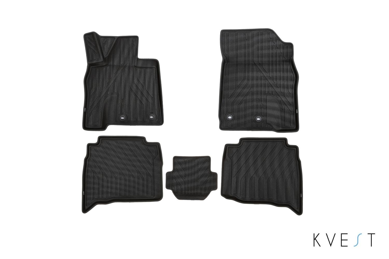 Коврики в салон KVEST для LEXUS LX, 2015, 5 шт. полистар, черный, серый