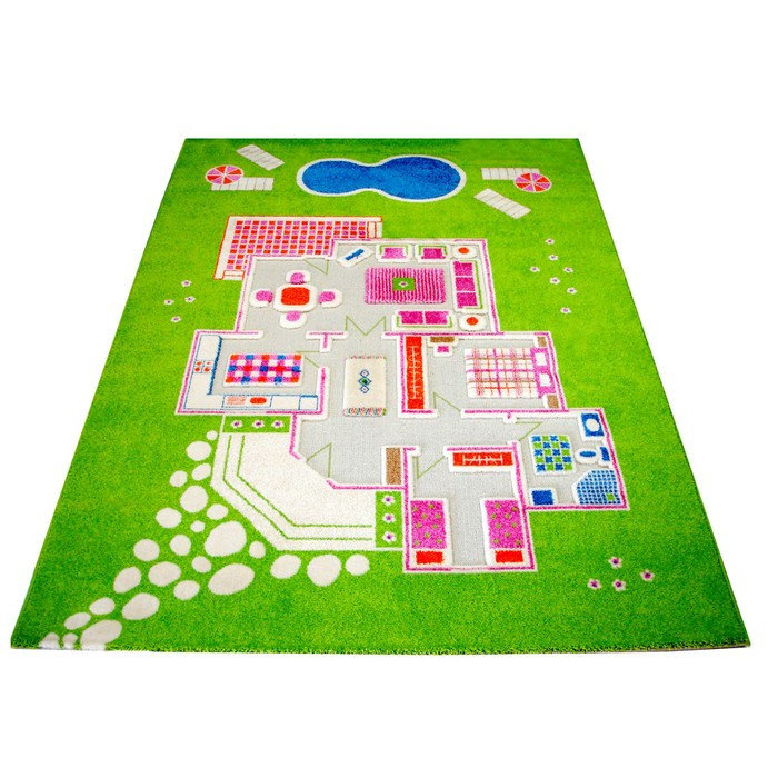 Детский игровой 3D-ковер Домик, зеленый, 160 х 230 см