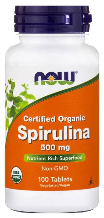 Купить Спирулина 500 мг, Спирулина NOW 500 мг таблетки 100 шт.