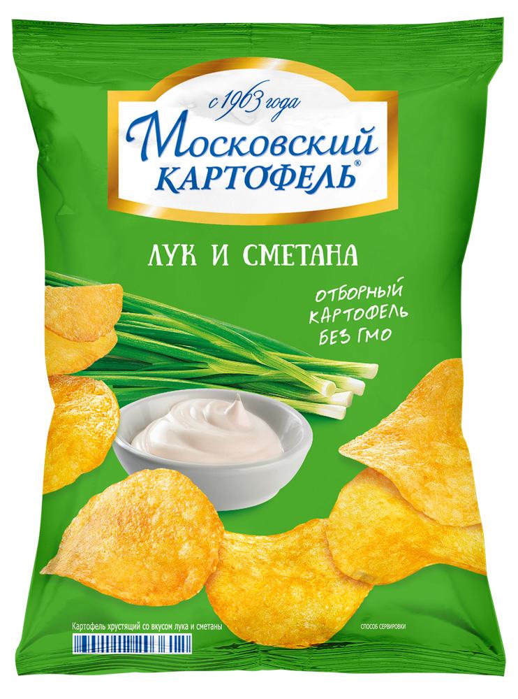Чипсы картофельные Московский картофель лук и сметана хрустящие 70 г фото