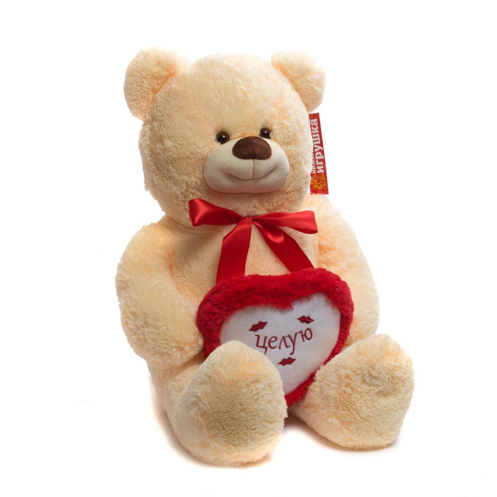 Купить Мягкая игрушка Мишка новый средний с сердцем 100 см Нижегородская игрушка См-482-5, Мягкие игрушки животные