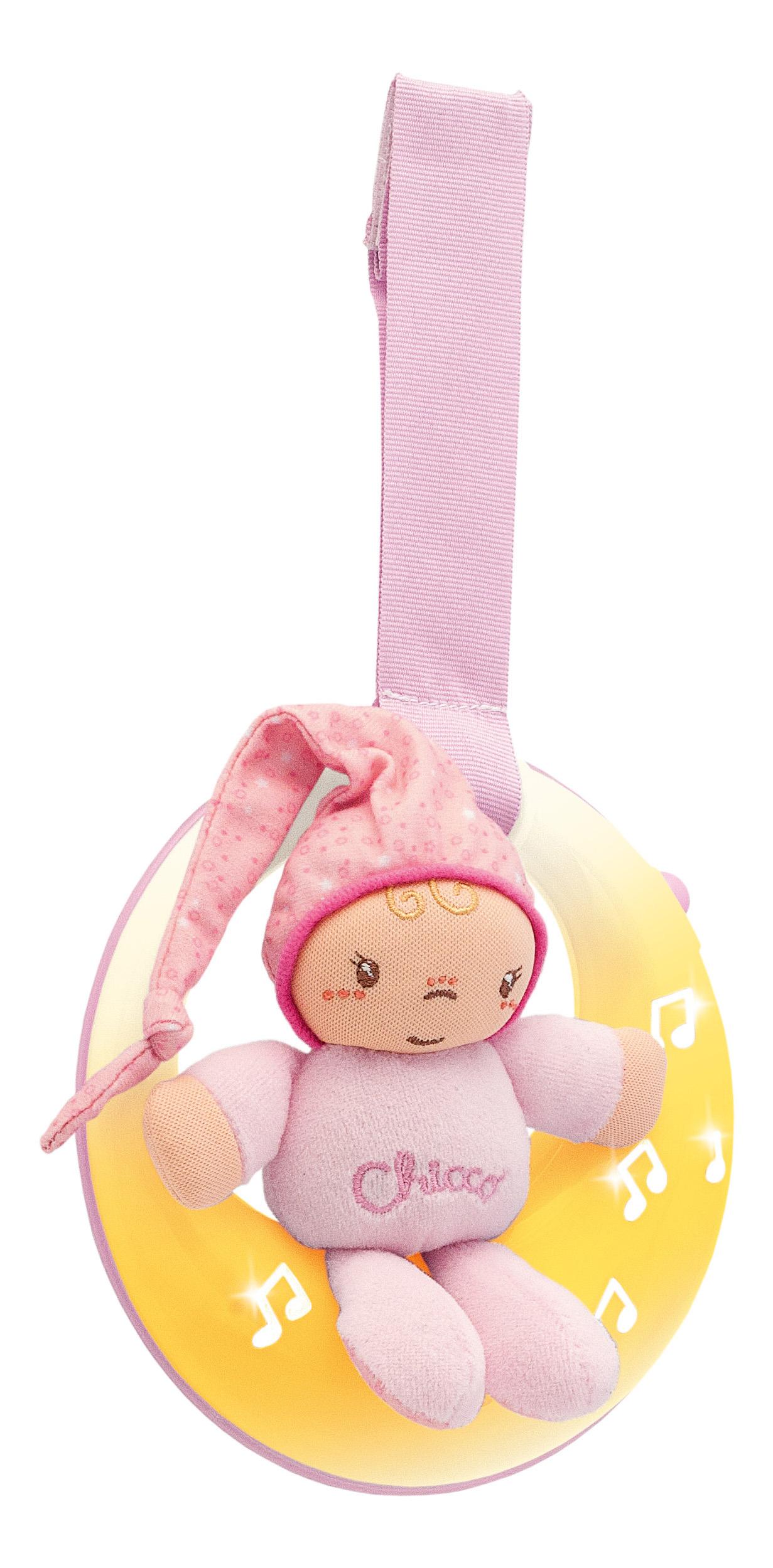 Купить Подвеска для кроватки музыкальная Chicco Спокойной ночи, луна розовая 07663-2, Развивающие игрушки