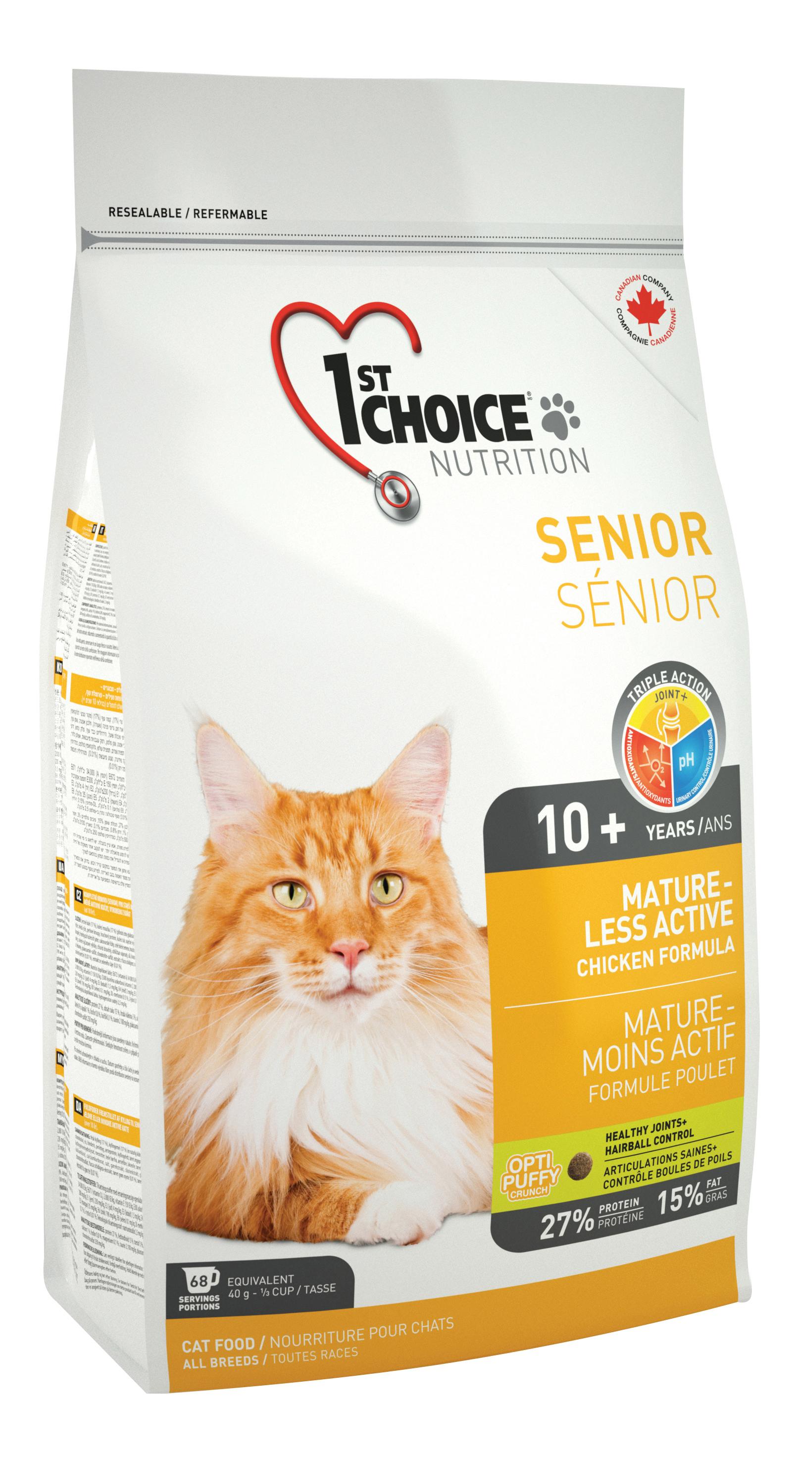 Сухой корм для кошек 1st choice Senior Mature or Less Active, цыпленок, 5,44кг фото