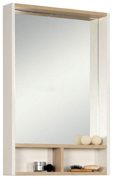 Зеркальный шкаф Йорк 55 белый/ясень фабрик