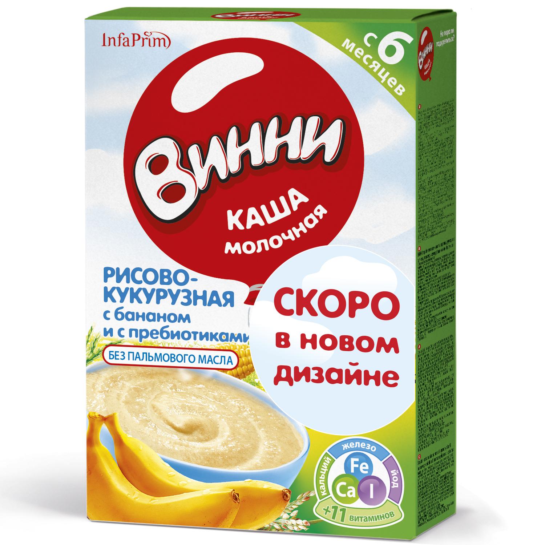 Купить Рисово-кукурузная с бананом с пребиотиками 200 г, Молочная каша Винни Рисово-кукурузная с бананом с пребиотиками с 6 мес 200 г, Детские каши