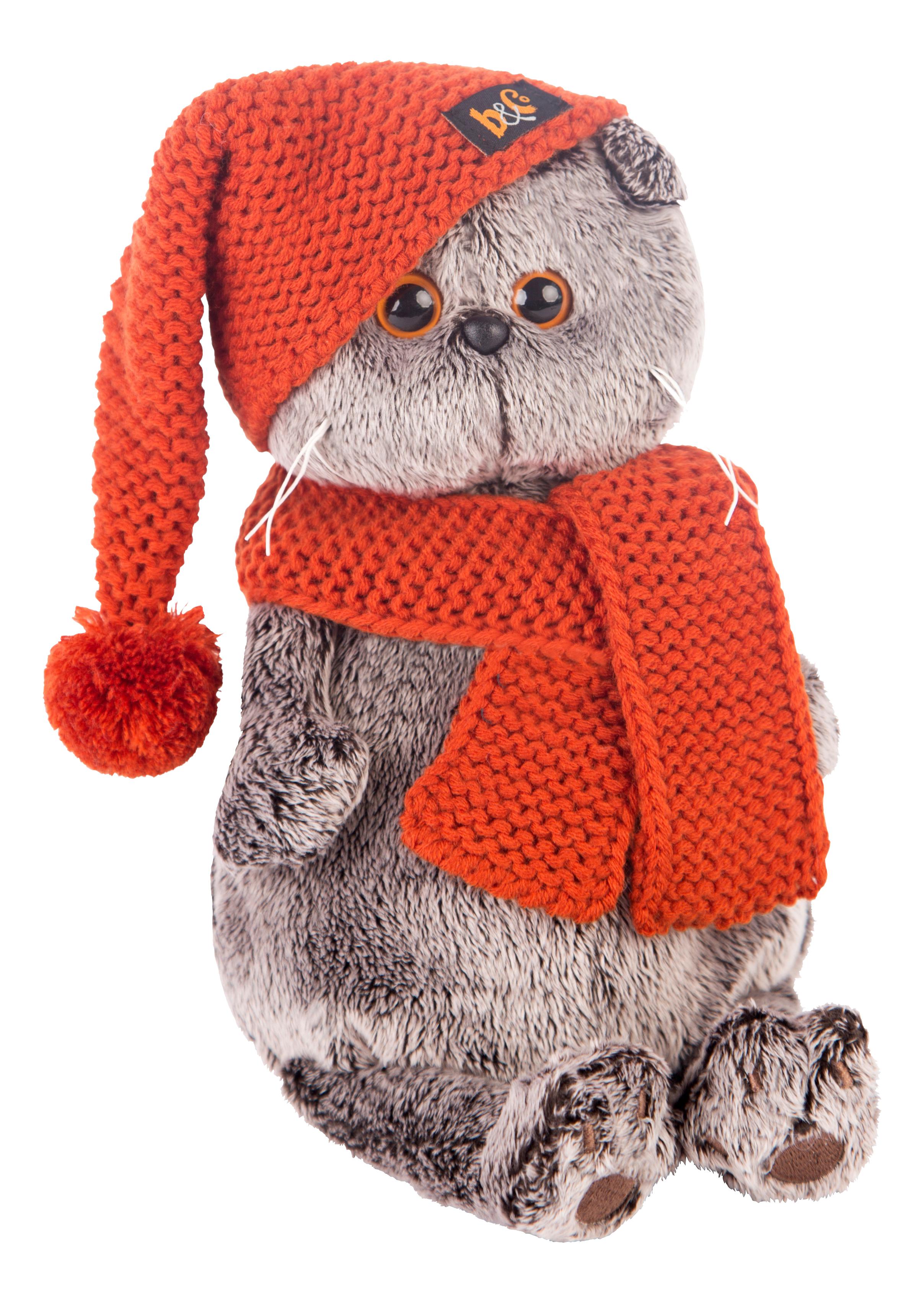 Купить Кот Басик в вязаной шапке и шарфе 19 см, Мягкая игрушка BUDI BASA Ks19-075 Басик в Вязаной Шапке и Шарфе, 19 см,