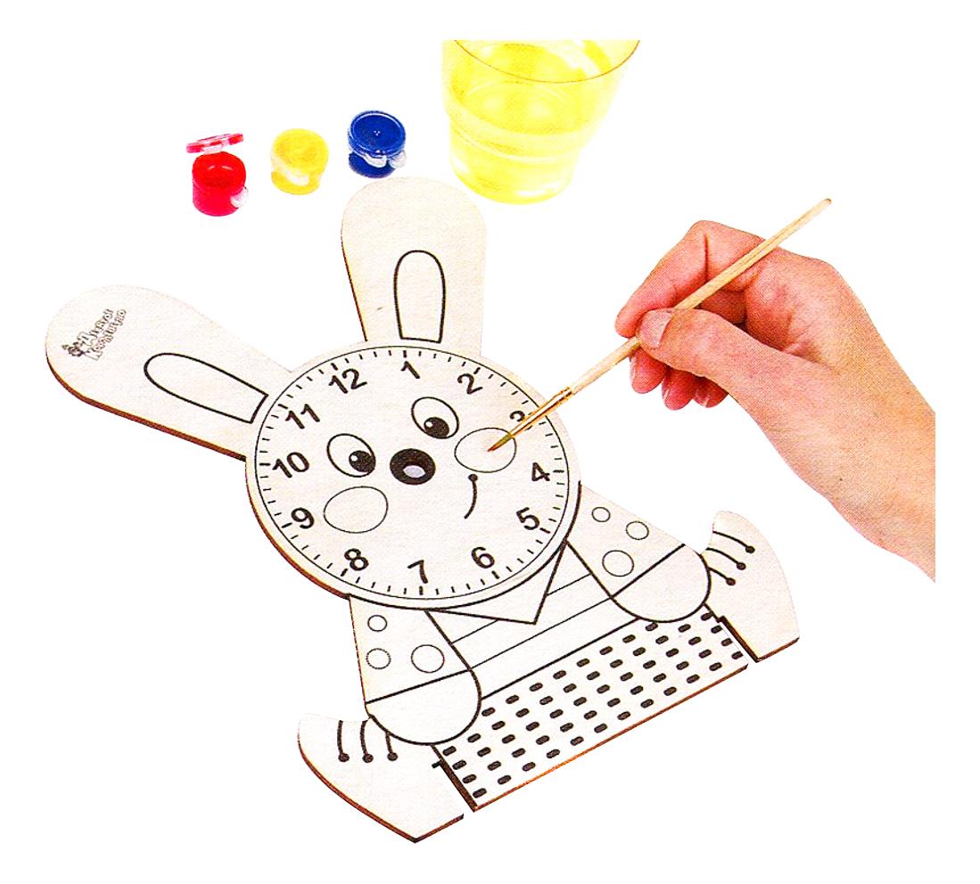 Раскраска Десятое Королевство Деревянные часы с красками. Зайчонок фото