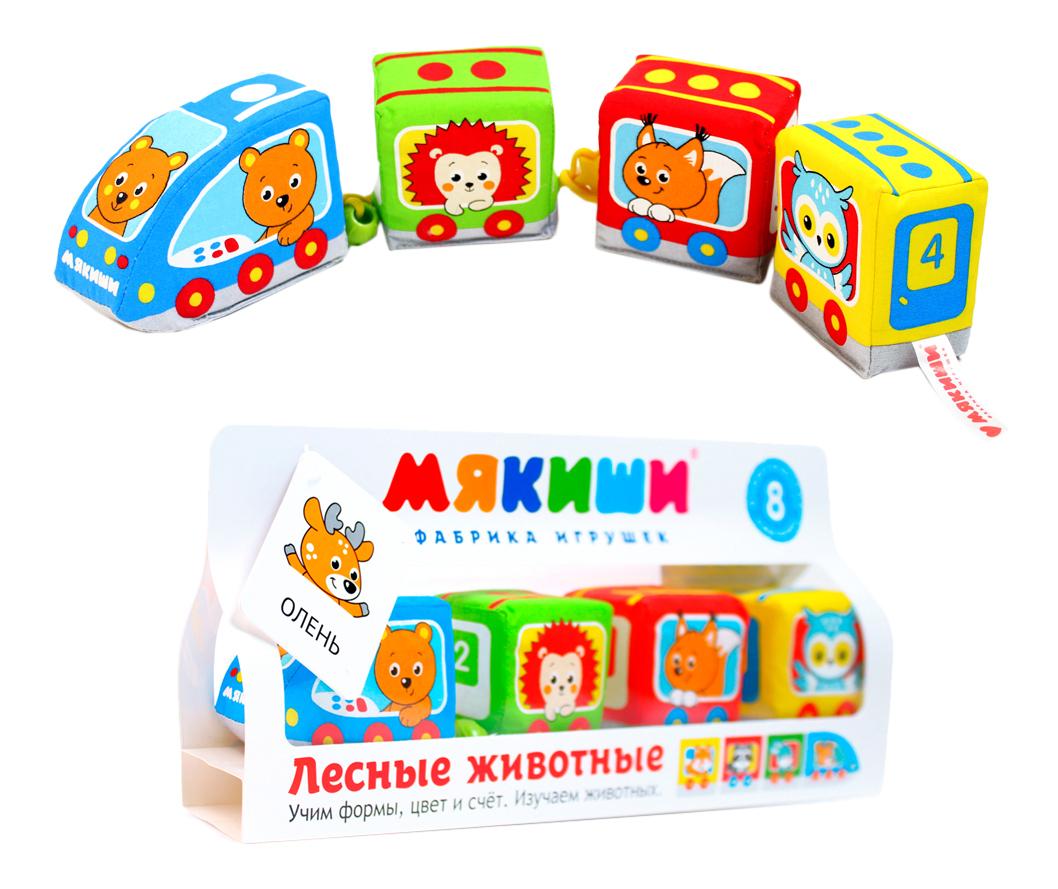 Развивающая игрушка Паровозик: лесные животные Мякиши Р92575