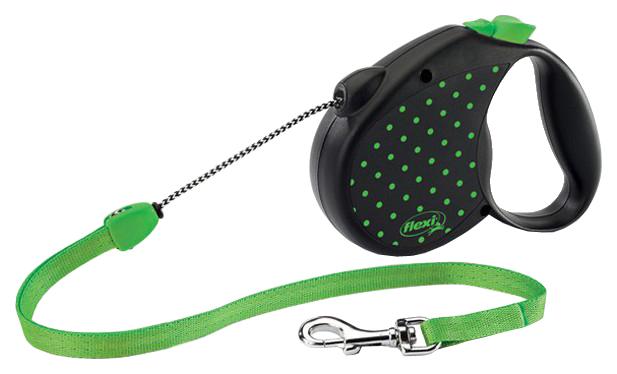 Поводок-рулетка для собак flexi Color Dots M, зеленая, трос 5м, до 20кг