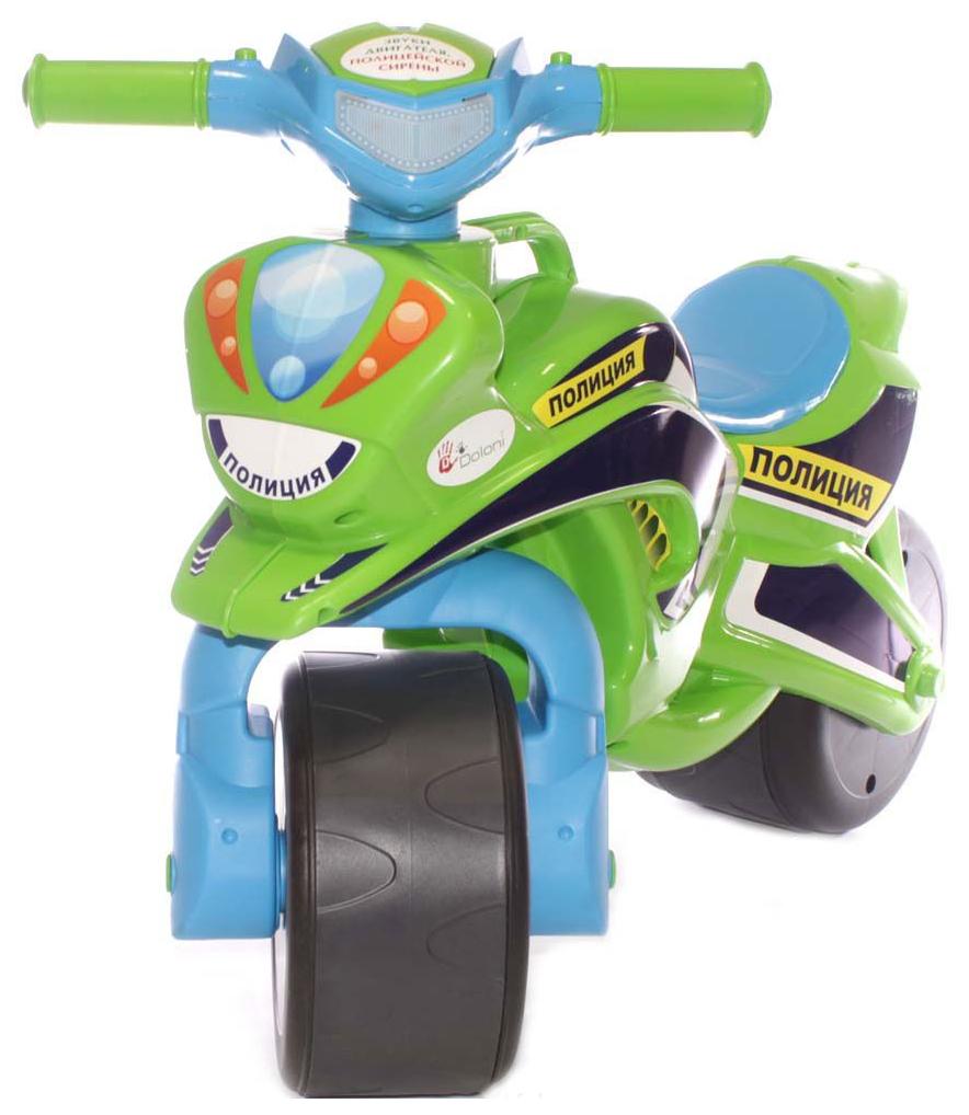 Купить Малая, Каталка детская Doloni байк Полиция зелено-голубой (0139/52),