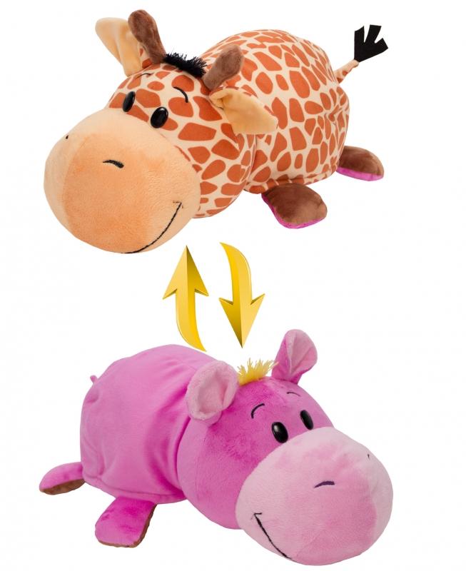 Купить Мягкая игрушка 1 TOY Вывернушка 4 вида 2 в 1, Жираф-Бегемот, 40х20х19 см (Т10877), Мягкие игрушки животные