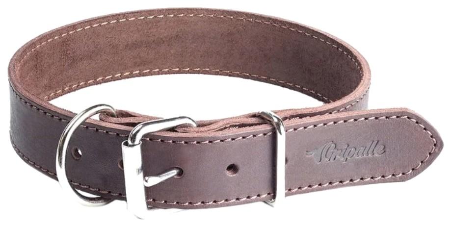 Ошейник для собак Gripalle Дакс, кожаный, стальная фурнитура, коричневый, 35мм х 55см
