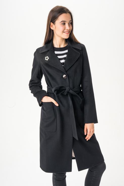 Пальто женское ElectraStyle 3-6040М-289 черное 48 RU фото