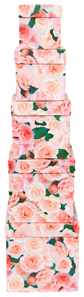 Набор подарочных картонных коробок Нежные розы, 5 шт. от 9x9x9 см до 17x17x17 см