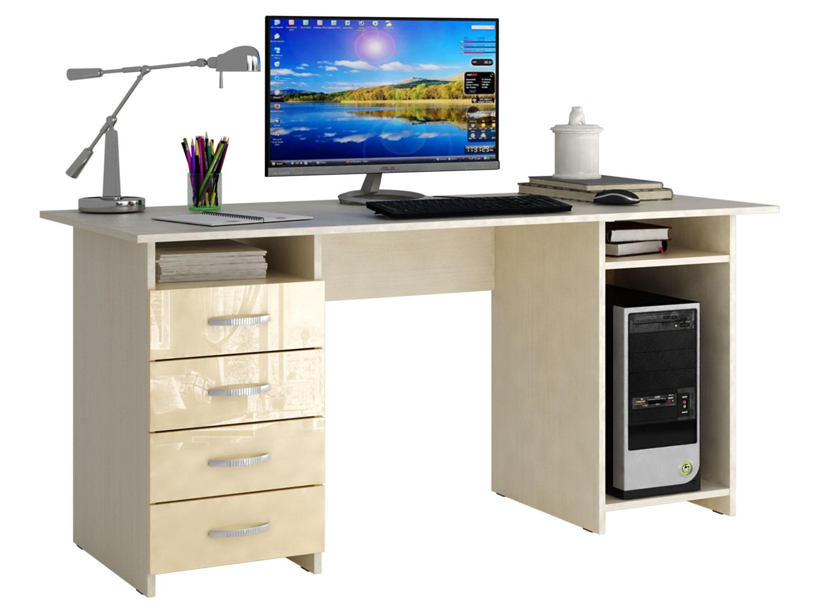 Письменный стол МФ Мастер МСТ-СДМ-06-ГЛ Милан-6 глянец дуб молочный, бежевый глянец