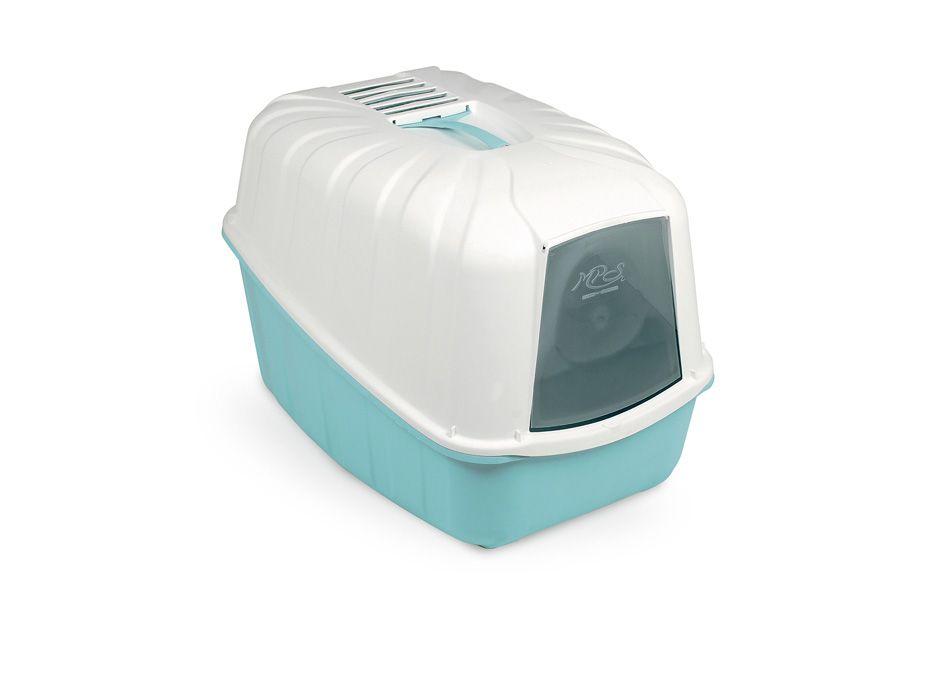 Туалет для кошек MPS Komoda, прямоугольный, белый, голубой, 54х39х40 см
