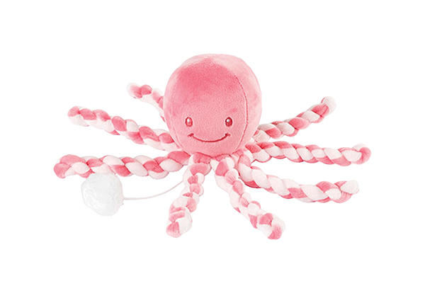 Купить Игрушка мягкая Nattou Musical Soft toy Lapidou Octopus pink coral – light pink,