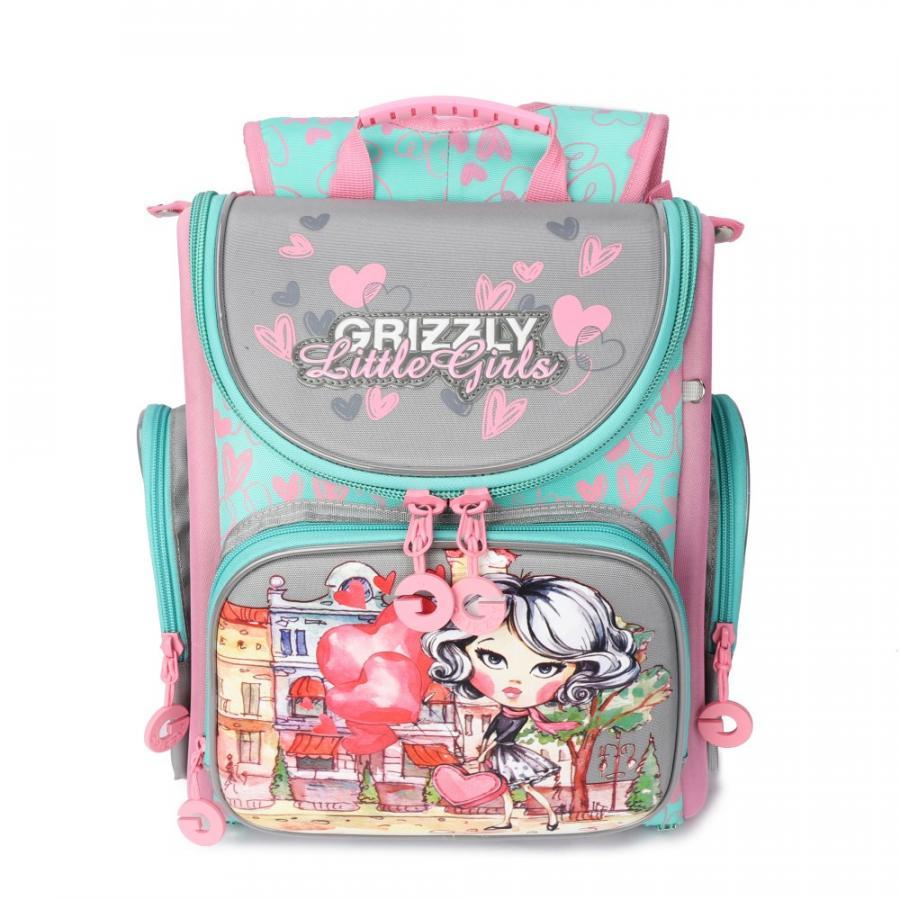 Купить Школьный Рюкзак для девочки Grizzly Ra-971-3 Серый - Розовый,