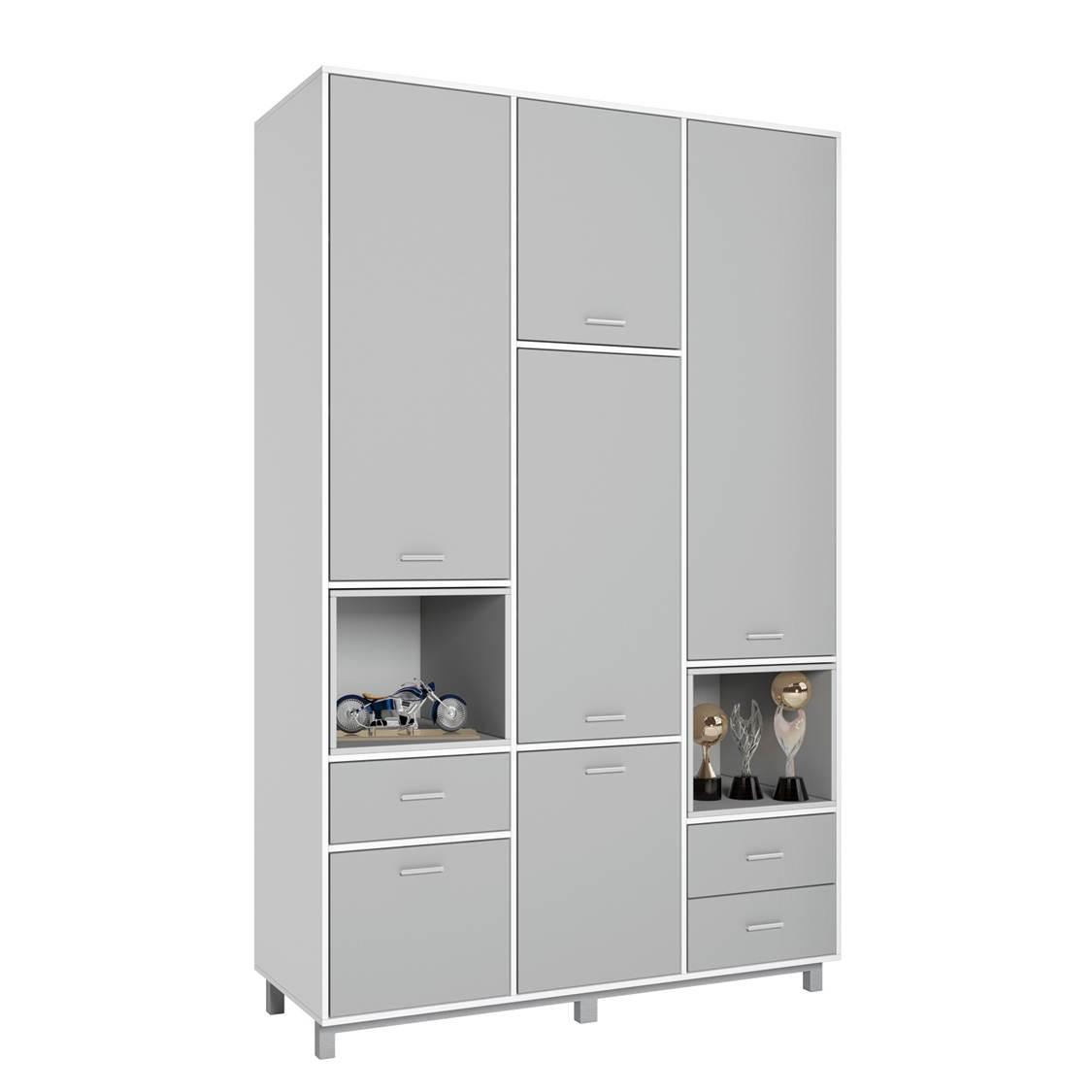 Купить Детский шкаф трехсекционный Polini kids Mirum 2335 белый-серый/серый, Шкафы в детскую комнату