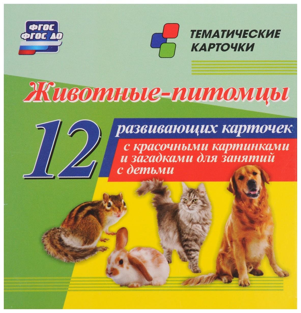 Купить Животные-питомцы: 12 развивающих карточек с красочными картинками и загадками для занятий, Учитель, Подготовка к школе