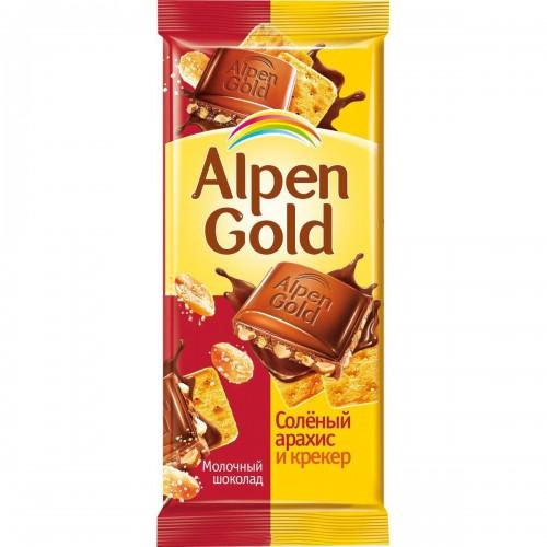 Шоколад молочный Alpen Gold соленый арахис и крекер 90 г фото