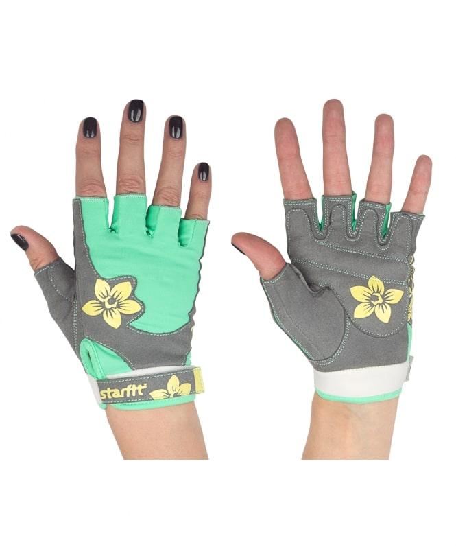 Перчатки для фитнеса StarFit SU 112, серые/зеленые/желтые,
