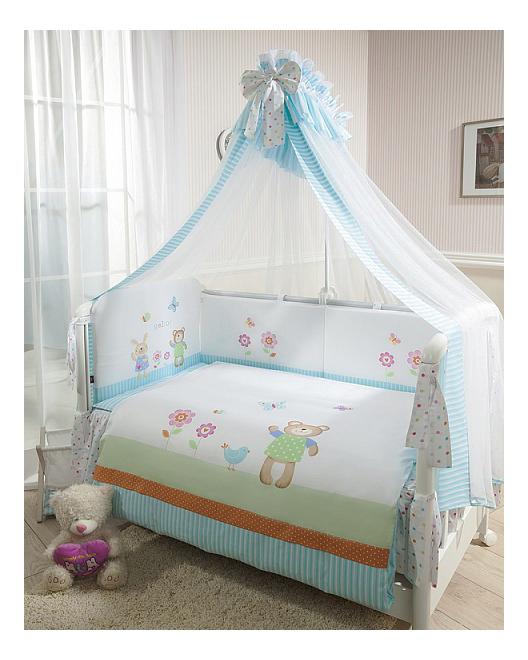 Комплект в кроватку Perina Глория 7 предметов Hello бирюзовый