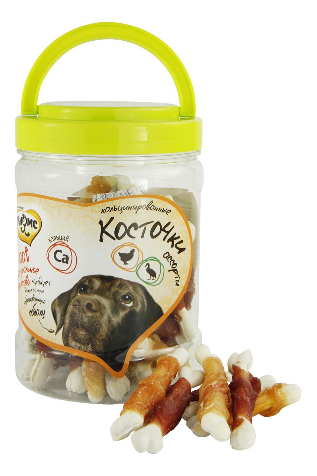 Лакомство для собак Мнямс, ассорти кальцинированные косточки с куриным и утиным мясом,340г