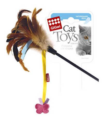 Дразнилка для кошек GiGwi, текстиль, пластик, перо,