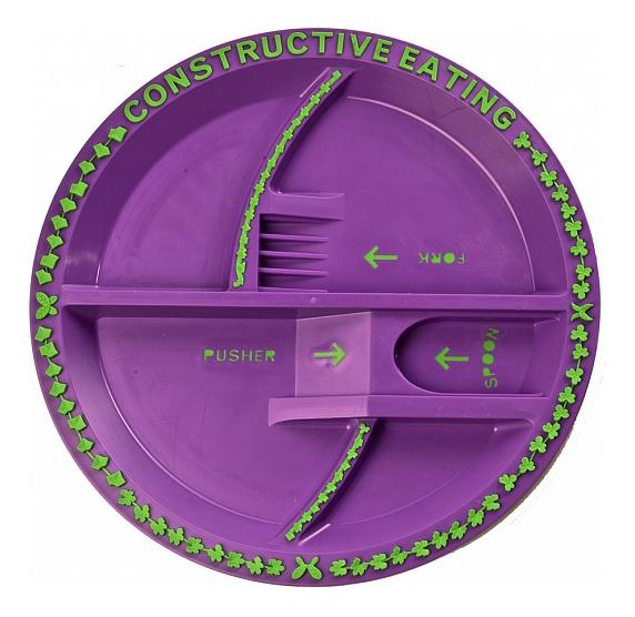 Тарелка детская Constructive Eating Волшебный сад фиолетовая