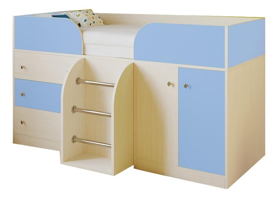 Кровать РВ-Мебель Астра 5 дуб молочный/голубой фото