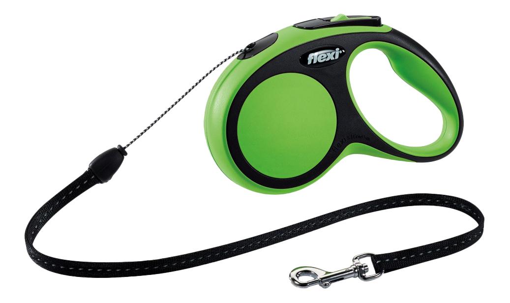 Поводок-рулетка для собак flexi New Comfort, трос, зеленый, S, до 12 кг, 5 м