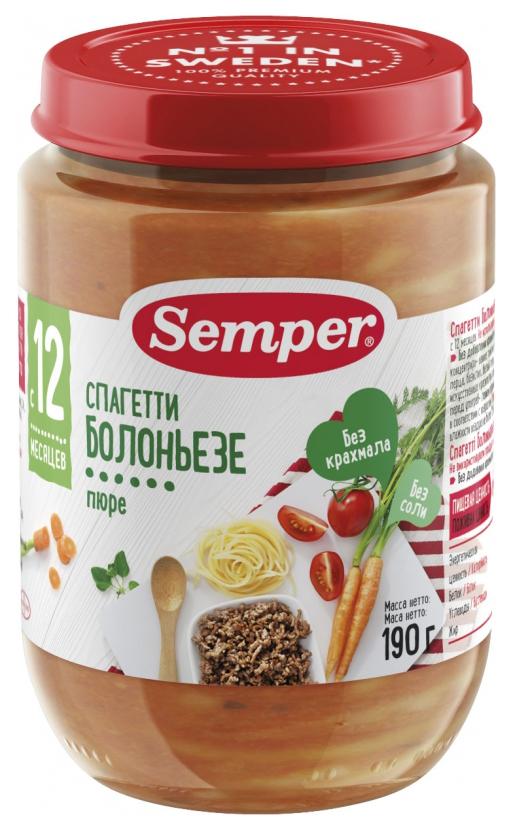 Пюре мясное Semper Спагетти болоньезе с 12 мес. 190 г фото