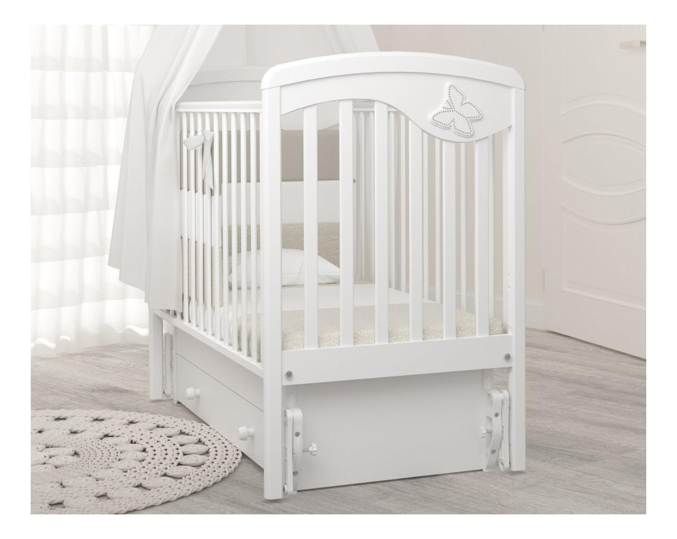 Кровать Гандылян с маятником Джулия Бабочка белая фото
