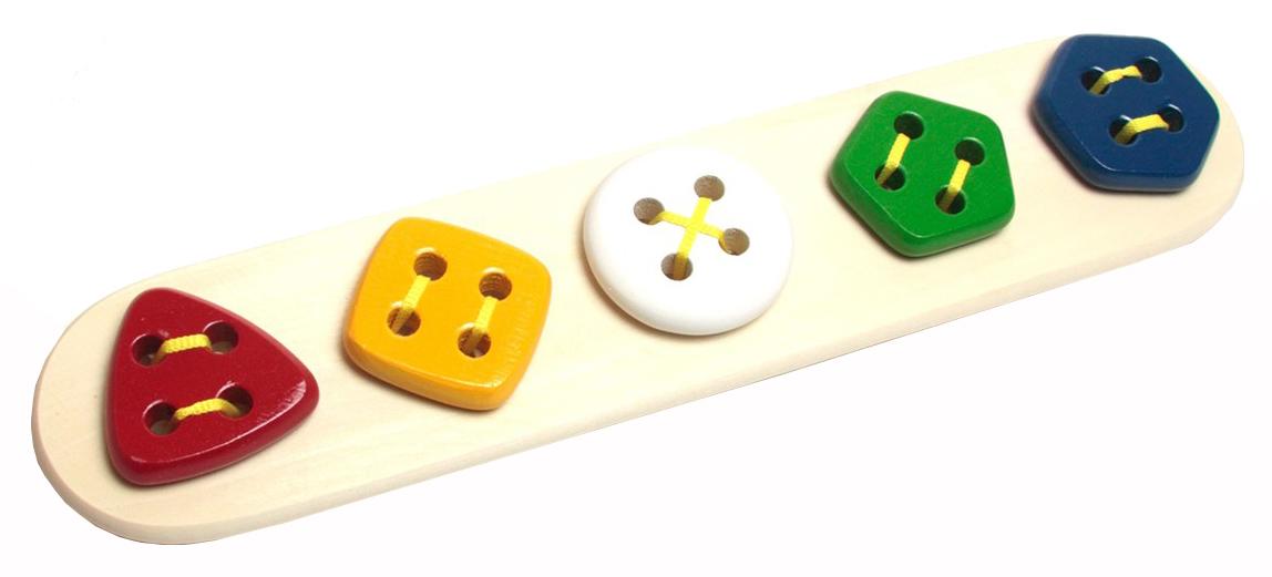Развивающая игрушка RNToys Пуговицы-шнуровки 5 в ряд геометрические фото