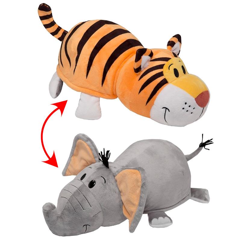 Купить Мягкая игрушка 1 TOY Вывернушка 4 вида 2 в 1, Слон-Тигр, 40х20х19 см (Т10931), Мягкие игрушки животные