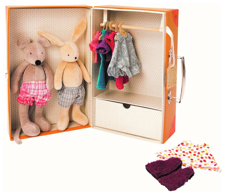 Игрушка-антистресс Moulin Roty Чемоданчик гардероб с мягкими игрушками фото