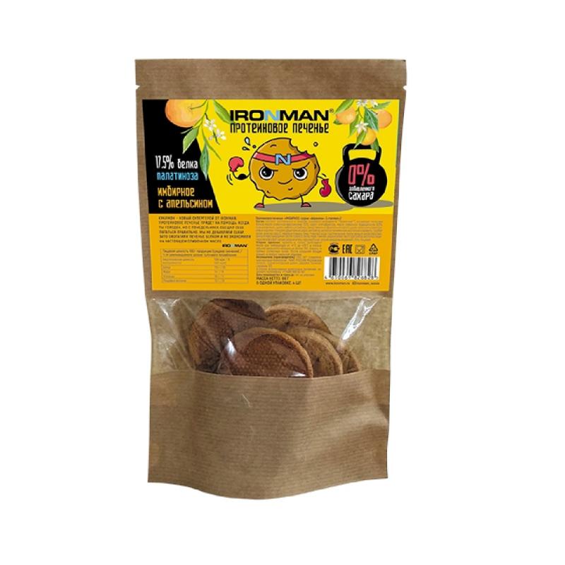 Протеиновое печенье IronMan Имбирное с апельсином 80 г, 4 шт. фото