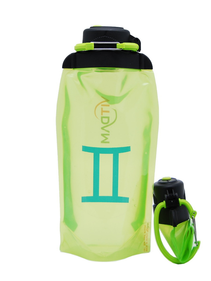 Складная эко-бутылка Vitdam, желто-зеленая, 860 мл, Gemini/Близнецы
