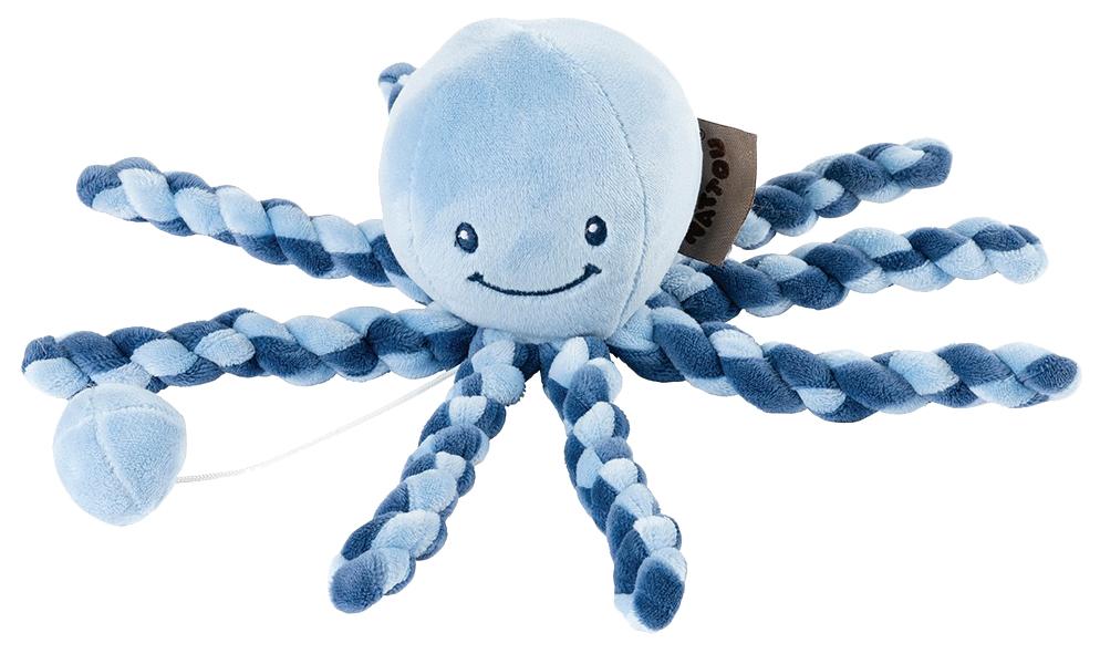 Купить Игрушка мягкая Nattou Musical Soft toy Lapidou Octopus navy blue – light blue,