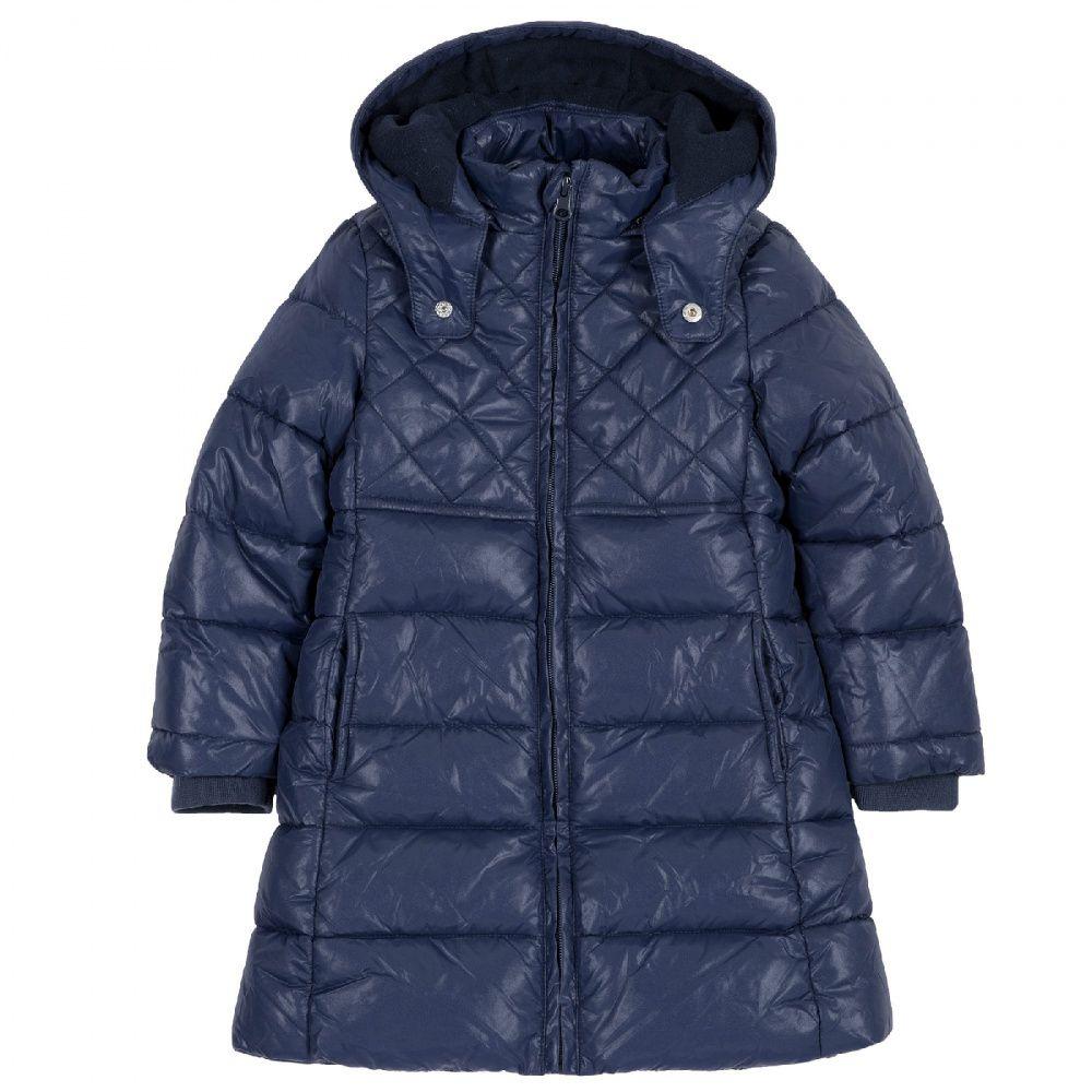 Купить 09087449, Куртка Chicco для девочек, удлиненная, р.104, цв. тёмно-синий, Куртки для девочек
