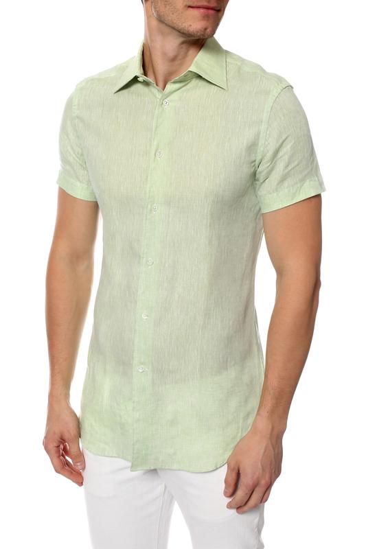 Рубашка мужская Corneliani 11605 зеленая 38 IT