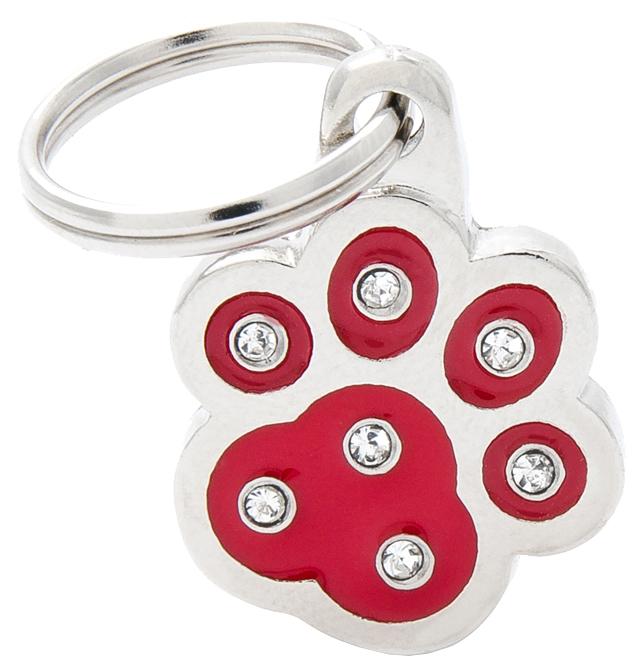 Подвеска для собак My Family брелок-адресник, красная лапка, металл