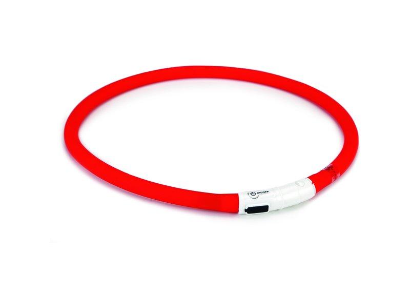 Ошейник Beeztees для собак силиконовый светящийся с USB (70 х 1 см, Красный)