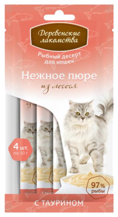 Лакомство для кошек Деревенские лакомства для кошек Нежное пюре из лосося 40 г фото