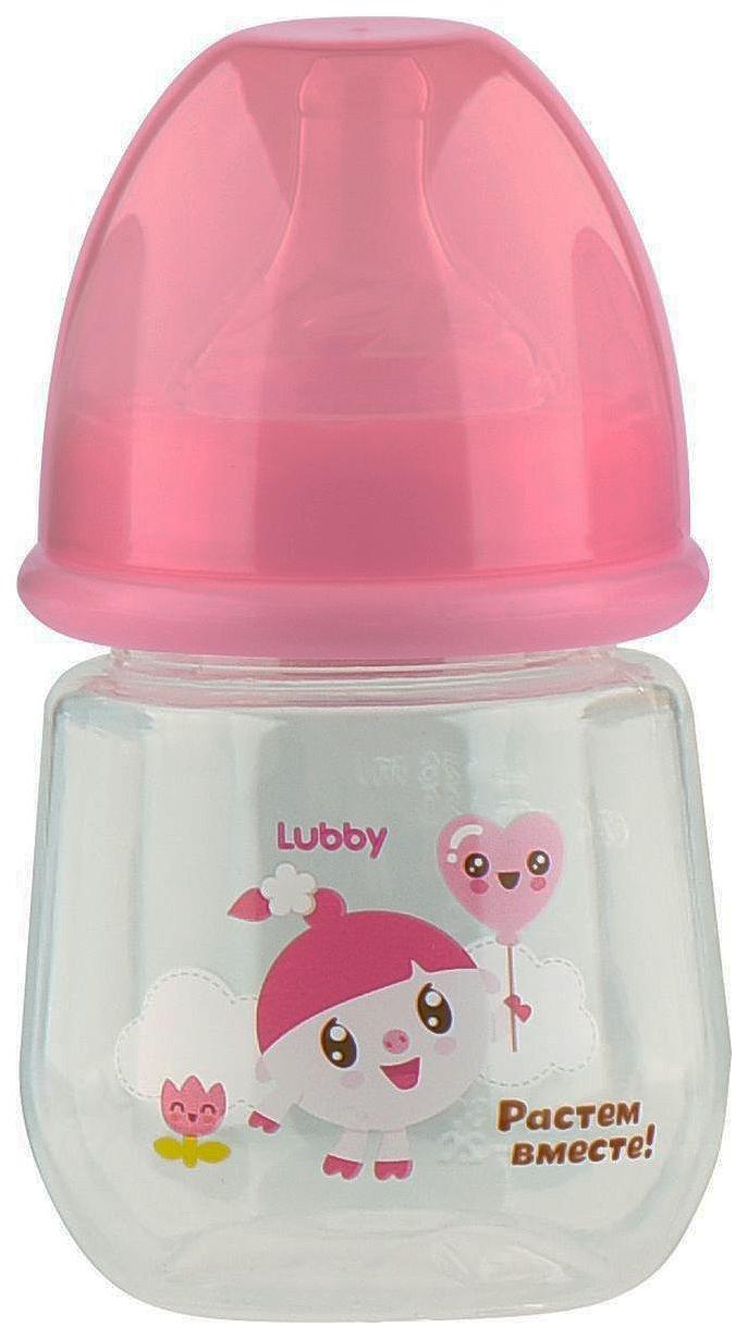 Бутылочка для кормления LUBBY Малышарики от 0 мес 125 мл розовый