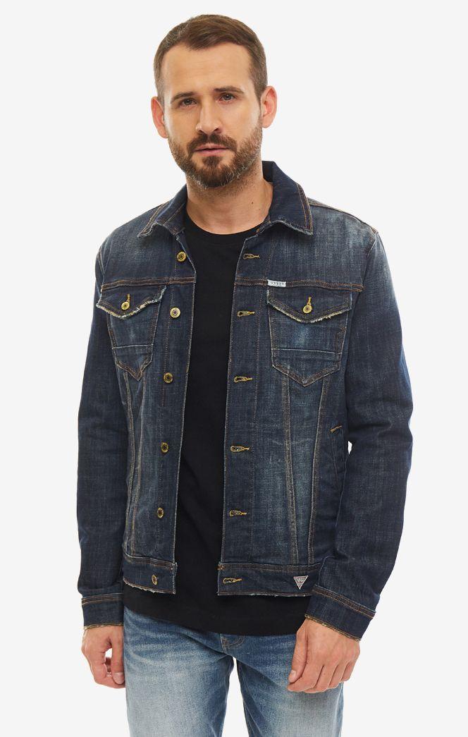 Джинсовая куртка мужская Guess M93N14-D3P61-OGLR синяя S