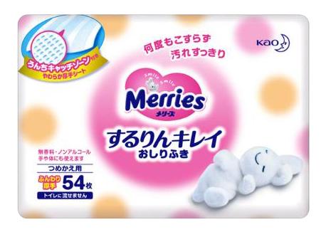 Детские влажные салфетки Merries запасной блок 54 шт.